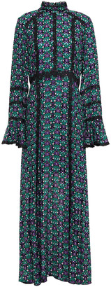 Anna Sui Guipure Lace-trimmed Printed Gauze Maxi Dress