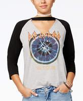 Freeze 24-7 7 7 Juniors' Cotton Def Leppard Graphic Choker T-Shirt