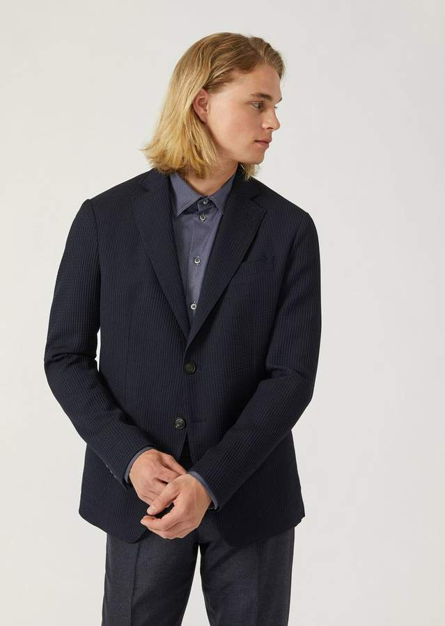 Emporio Armani Single-Breasted Pure Wool Jacket With 3D Pattern