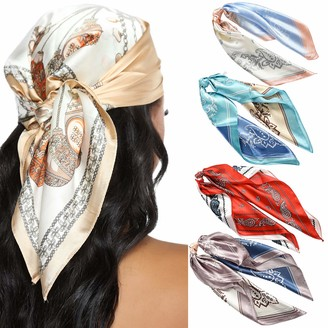 WELROG Silky Square Scarves for Women - 4 PCs Women Satin Silk Head Scarf Scarves Set Bandanas Hair Scarf Neck Scarf for Ladies Hair Accessories Girls (Pink+Red+Sky Blue+Purple)