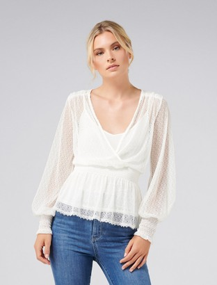 Forever New Imogen Shirred Lace Top - Porcelain - xs