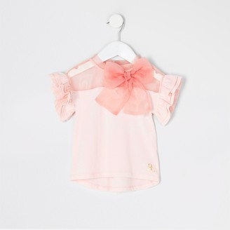 River Island Mini Girls Pink organza bow t-shirt