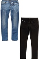 River Island Big and Tall Dylan slim fit jeans 2 pack