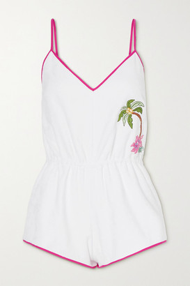 Loretta Caponi Anita Embroidered Cotton-terry Playsuit - White