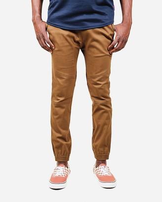 Express Brooklyn Cloth Brown Side Zipper Pocket Twill Jogger Pants