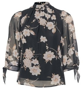 Dorothy Perkins Womens Dp Petite Black Floral High Neck Top, Black
