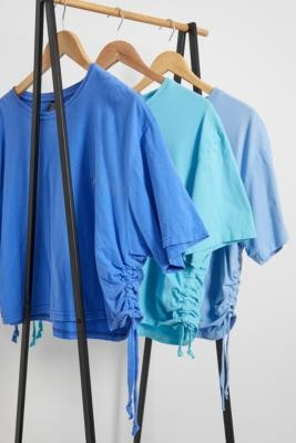 Urban Renewal Vintage Remade From Vintage Aqua Ruched Brand T-Shirt - Blue XS/S at Urban Outfitters