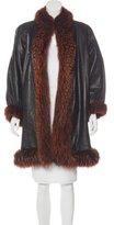 Saint Laurent Faux Fur-Trimmed Leather Coat