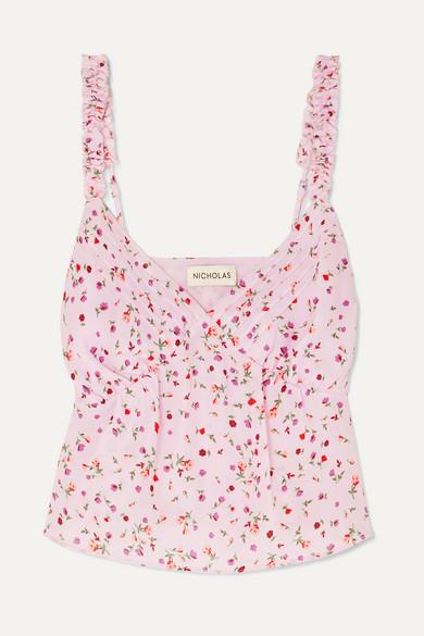Nicholas Floral-print Silk Crepe De Chine Top - Pink