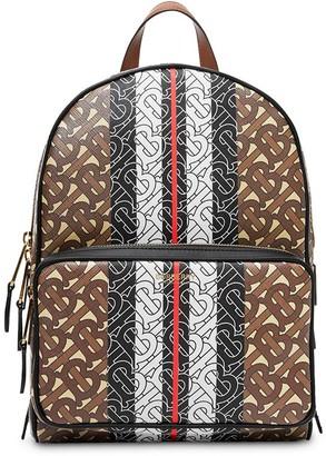 Burberry Monogram Stripe Print E-canvas Backpack