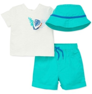 Little Me Baby Boys 3-Pc. Cotton Bucket Hat, T-Shirt & Shorts Set