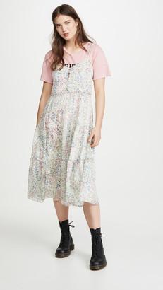 R 13 Midi Tiered Slip Dress