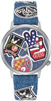 GUESS GUESS? Women's Women's Originals Silver-Tone and Denim Watch