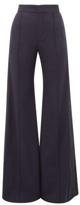 Chloé High-rise Wool-blend Flared Trousers - Navy Multi