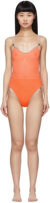 Heron Preston Orange Mesh One-Piece Swimsuit
