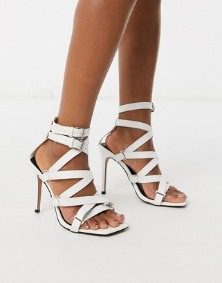 ASOS DESIGN Nice gladiator heeled sandals in white