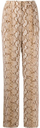 MICHAEL Michael Kors Snakeskin-Print Wide-Leg Trousers