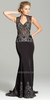 Camille La Vie Beaded Illusion Back Evening Dress