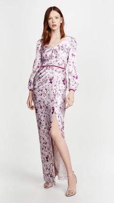 Marchesa Bishop Sleeve Printed Charmeuse Gown