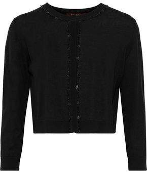 Max Mara Cropped Embellished Silk And Wool-blend Cardigan