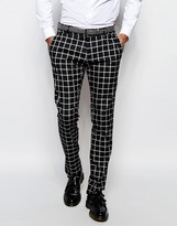 Antony Morato Check Suit Trousers In Slim Fit - Black