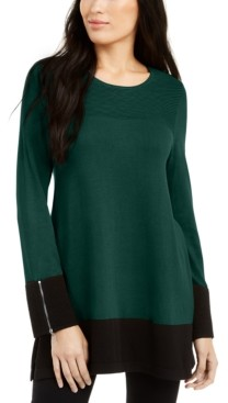 Alfani Petite Ottoman-Knit Colorblocked Tunic, Created for Macy's