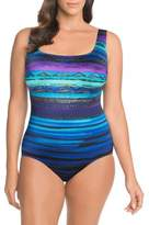 Longitude Printed X-Back One-Piece Swimsuit