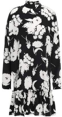 Ganni Ruffled Floral-print Silk-crepe Dress