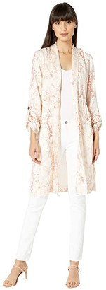 Cupcakes And Cashmere Neptune 'Spring Snake' Printed Soft Satin Trench (Soft Beige) Women's Clothing