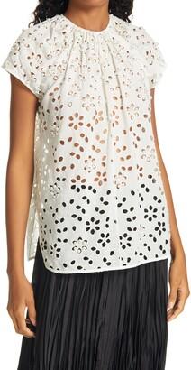 Rachel Comey Sutter Beaded Floral Cotton Top