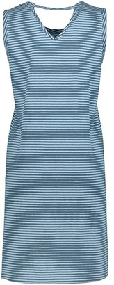 Mod-o-doc Denim Stripe Jersey Tank Dress with Back Cutout (Blue) Women's Clothing