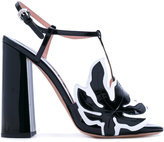 Rochas leaf patch heeled sandals - women - Leather/Nappa Leather - 37