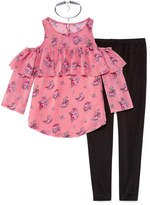 Beautees Cold Shoulder Ruffle Top w Legging Set with Necklace- Girls' 7-16