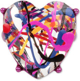 Betsey Johnson Fuchsia-Tone Crystal Graffiti Heart Ring