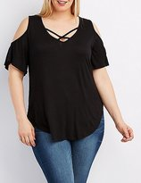 Charlotte Russe Plus Size Strappy Cold Shoulder Tee