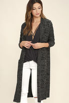 Amuse Society Aura Black and Grey Long Cardigan Sweater