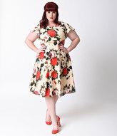 Unique Vintage Plus Size 1940s Style Cream Floral Formosa Swing Dress