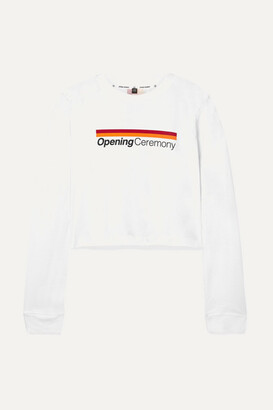Opening Ceremony Cropped Printed Cotton-jersey Top - White