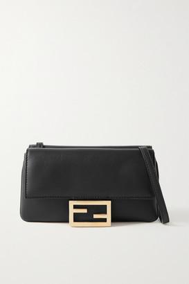 Fendi Duo Baguette Leather Shoulder Bag - Black