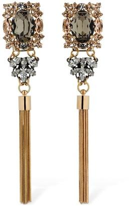 Anton Heunis Omega Clasp Crystal & Tassel Earrings