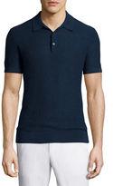 Michael Kors Textured Cotton/Linen Polo Shirt