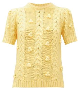 Shrimps Elea Cable Knit Merino Wool Blend Sweater - Womens - Yellow