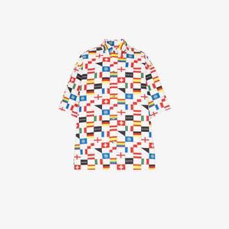 Balenciaga flag print padded cotton shirt