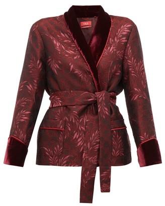 F.R.S For Restless Sleepers Plutone Velvet-trim Jacquard Wrap Jacket - Burgundy