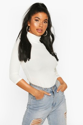 boohoo Petite Rib Turtle Neck 3/4 Sleeve Top