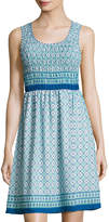 Max Studio Printed-Georgette Smocked-Bodice Dress, Blue Pattern