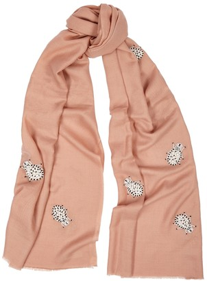 Janavi India Light pink embellished merino wool scarf