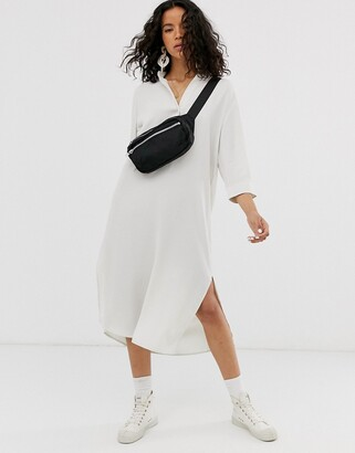 Weekday collarless shirt dress in off-white-Beige