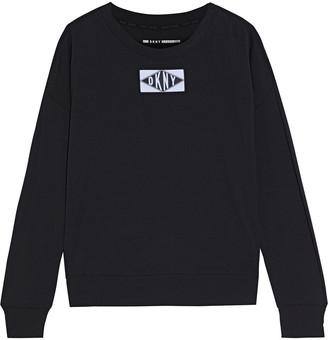 DKNY Appliqued Cotton-blend Jersey Top