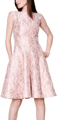 Talbot Runhof Poppy Cloque Fit & Flare Dress